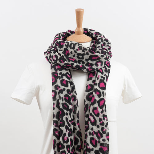 100% Wool Leopard Winter White and Pink Print Scarf