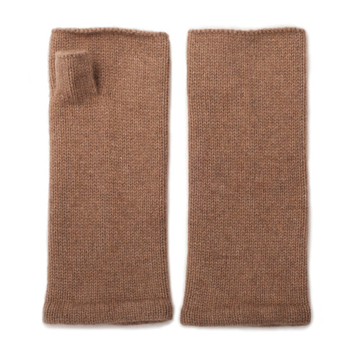 camel cashmere fingerless gloves