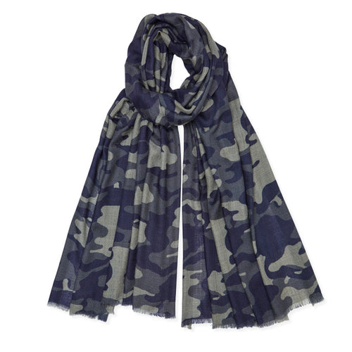 Mid Grey, Dark Grey and Navy Camouflage Cashmere Pashmina