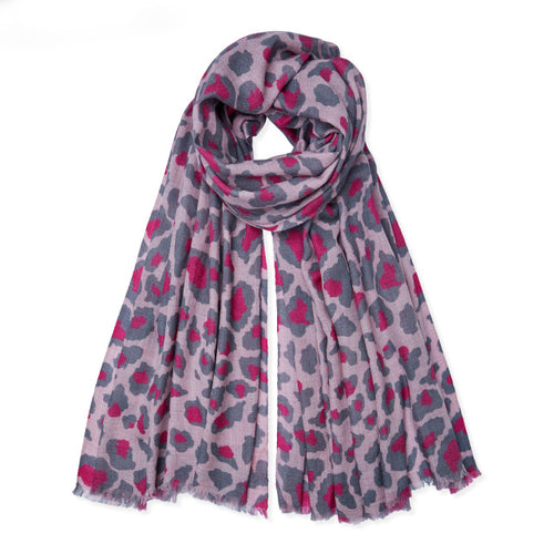 Soft Heather Pink, Dark Pink & Grey Leopard Cashmere Pashmina