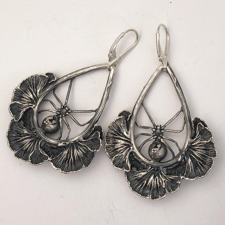 Spider & Mushroom Sterling Silver Earrings