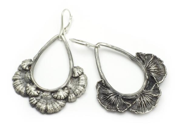 Life-Cast Sterling Silver Split Gill Mushroom Earrings