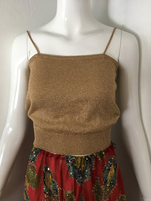 Gold Metallic Knit Disco Cami Crop Top
