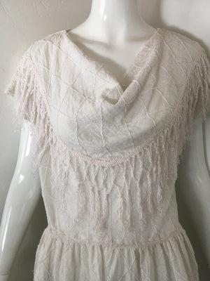 Soft Gauze Fringe Cowl Neck dress
