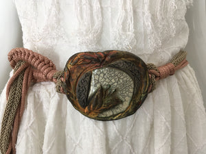 Artisan Woven Belt with Clay Accent