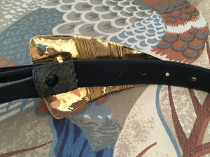 Olive green snakeskin belt with gold avant garde buckle