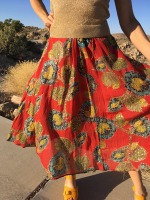 Silk floral skirt with sequins and metallic embroidery