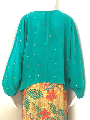 RONAK Upcycled Silk Shawl Shrug Cover Up in Star Studded Teal
