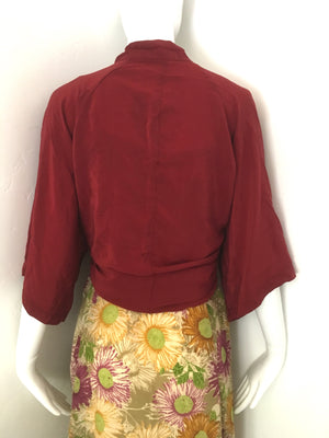ASHKA Silk Kimono Shrug in Marrooned