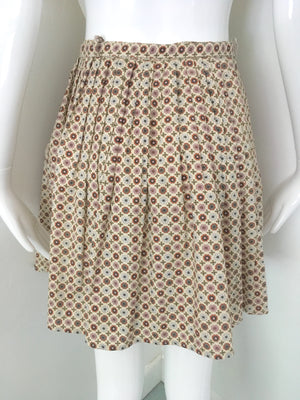 1960s Daisy Print Pleated Cotton Mini Skirt