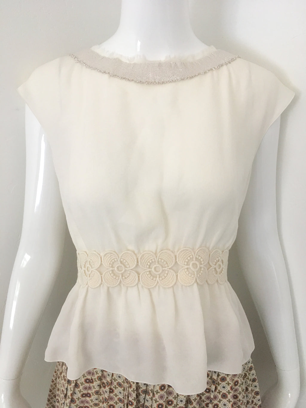 Sleeveless Silk Peplum Blouse with Beaded Neckline by Chanel