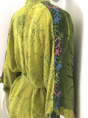 KIMONO Upcycled Silk Duster Robe in Sequin Green Dream