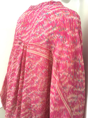 UDAYA Silk Loose Fit Robe in Pink Zig-Zag