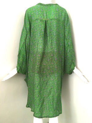 UDAYA Silk Loose Fit Robe in Meadow Green Floral