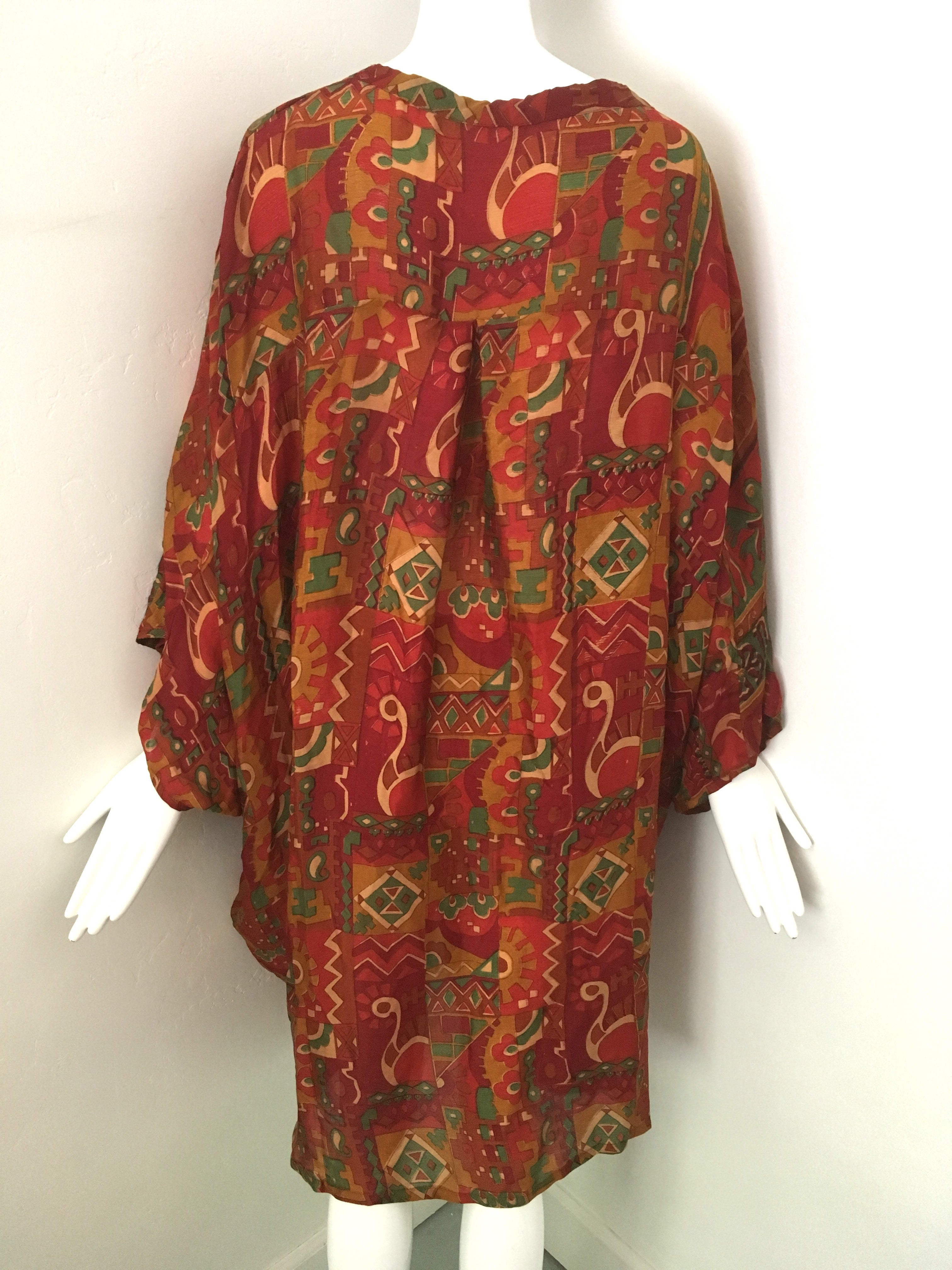 UDAYA Silk Loose Fit Robe in Red & Green Exotic