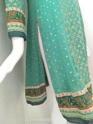 Aqua Blue Embellished Silk Kurti Tunic by Ritu Kumar