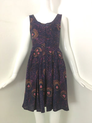 Vintage 1980s Giorgio Sant'Angelo Peacock Print Jumper Dress