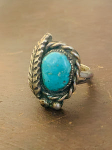 Green Turquoise Ring with Sterling Silver Leaf, Rope, and Beads ~ size 8.5