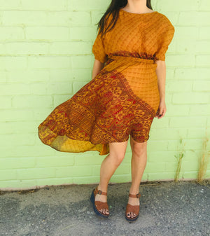 Uma Asymmetrical Chiffon Silk Dress in Gold Paisley
