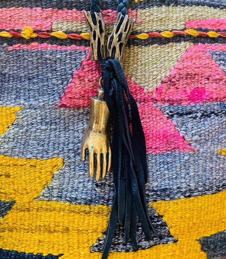 Braided Leather Fringe Necklace with Brass Cholla Pieces and Solid Brass Hand