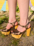 70s Inspired Glitter Strappy Wooden Platforms ~ Size 10