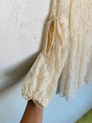 Cream Lace Babydoll Dress