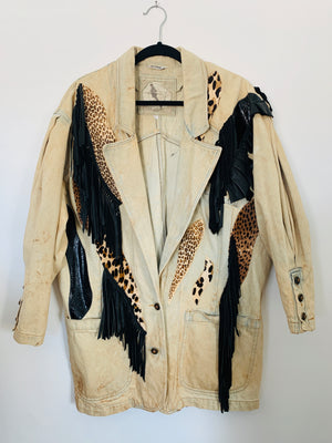Vintage 80s Acid Wash Denim Animal Blazer