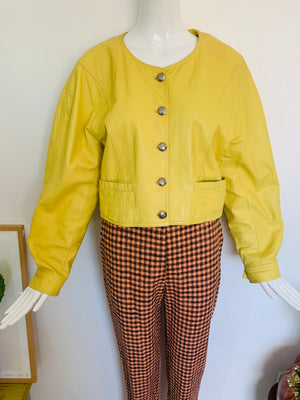 Vintage 80s Pastel Yellow Leather Crop Jacket