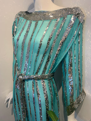 TIFFANY BLUE SILK SEQUIN DRESS