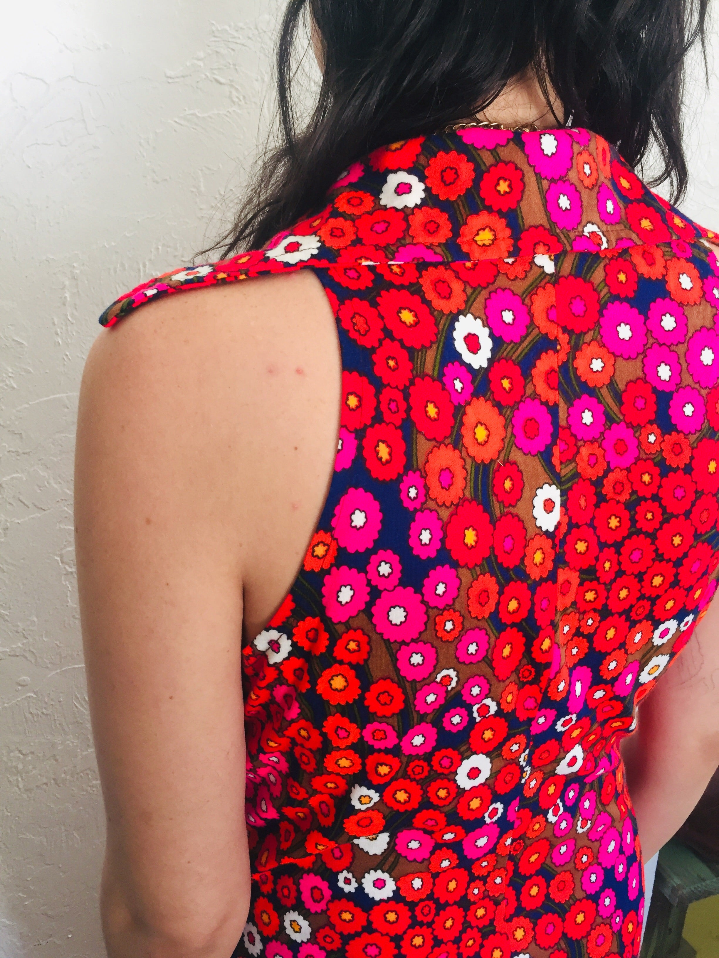 60s Psychedelic Flower Power Sleeveless Dress