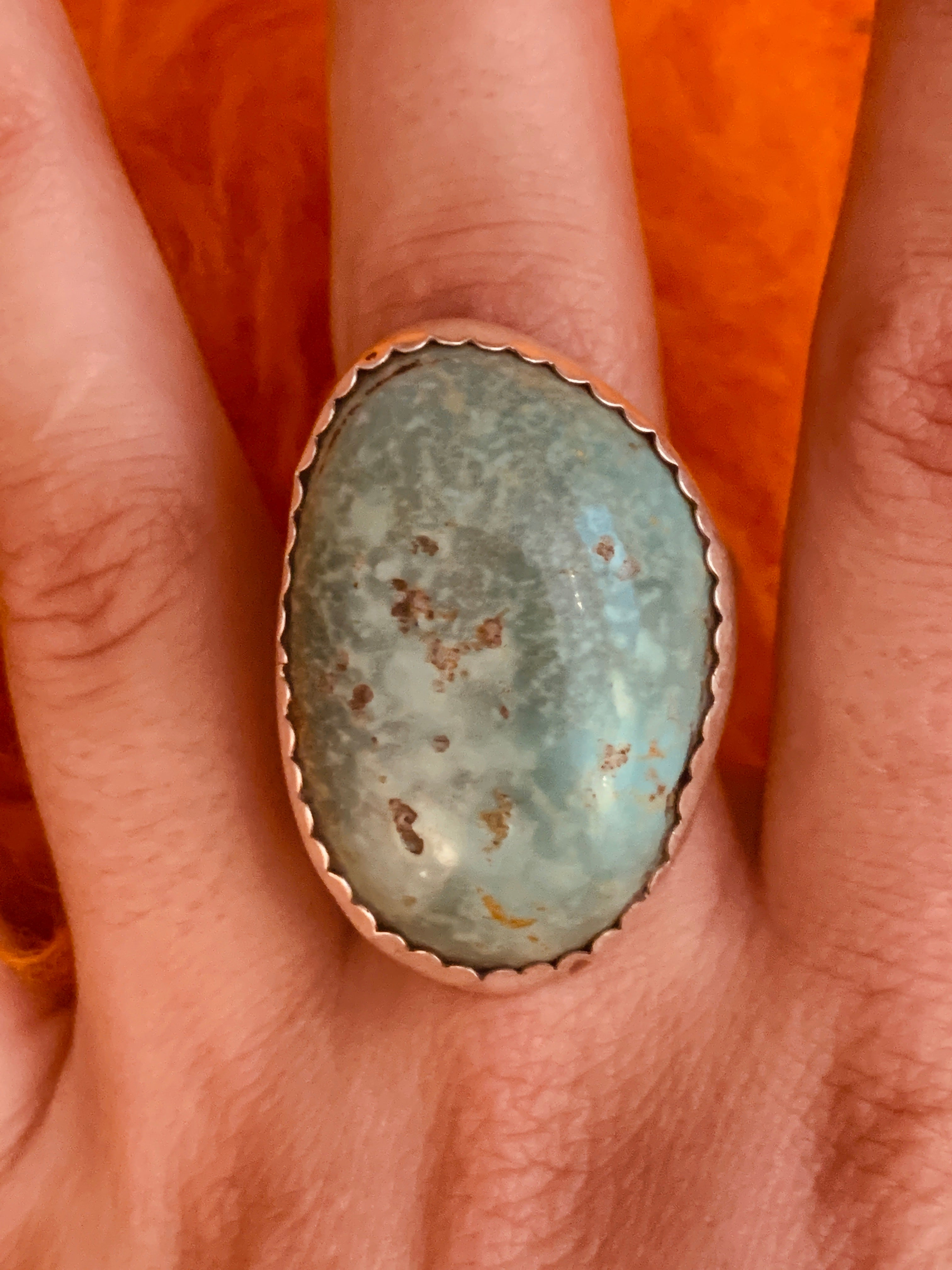 Massive Green Turquoise Stone Encased in Scalloped Sterling Silver ~ size 13