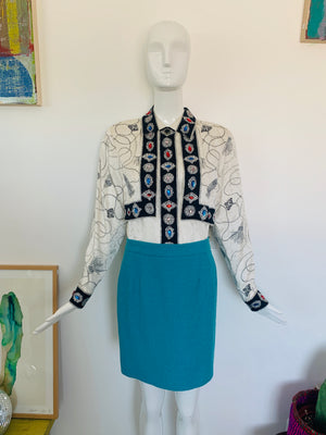 Silky 80's Jeweled Blouse