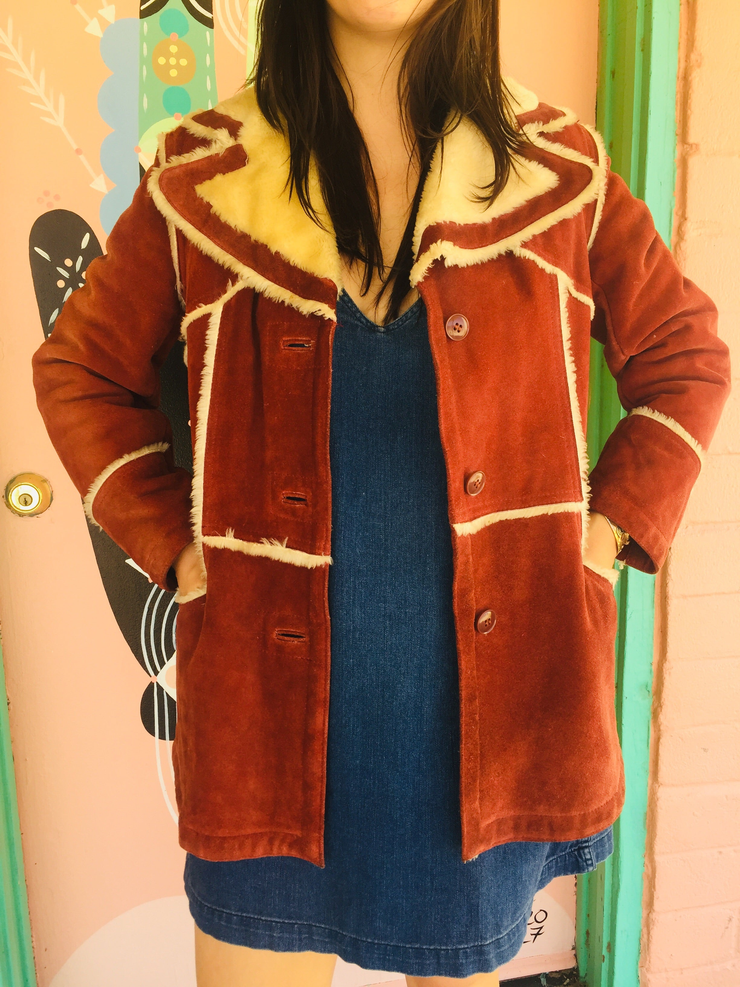 70s 80s Suede Jacket with Faux Fur Lining