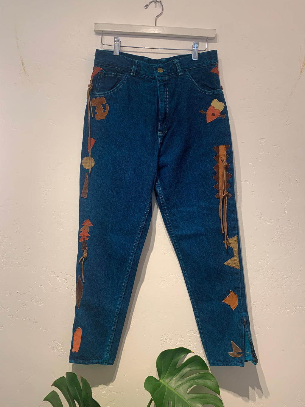Vintage Overdye Denim Appliqué Pants