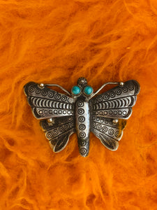 Vintage Collectible Sterling Silver Engraved Moth Pin with Turquoise Stones