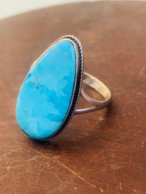 Teardrop Turquoise & Sterling Silver Ring ~ size 12.5