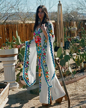 Chainstitch Woodstock Caftan ~ White & Blue