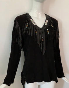 Vintage Suede & Leather Beaded Top