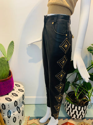 SILVER & GOLD LEATHER STUDDED PANTS