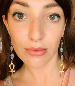Brass Ankh Earrings with Quartz Drops
