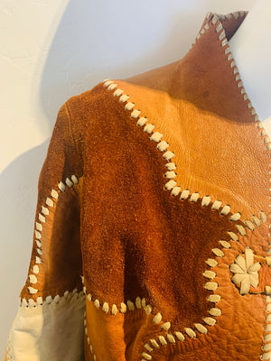 Vintage Leather Patchwork Jacket