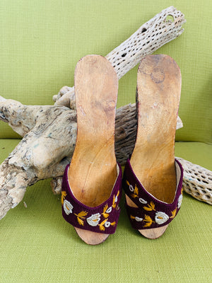Vintage Carved and Painted Wooden Mules