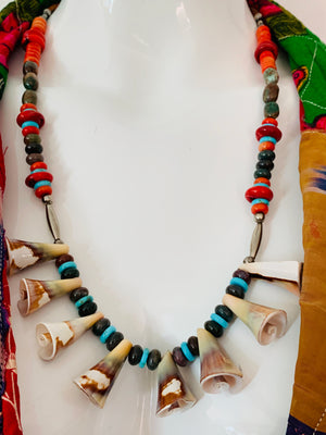 Artisanal Gemstone & Shell Necklace