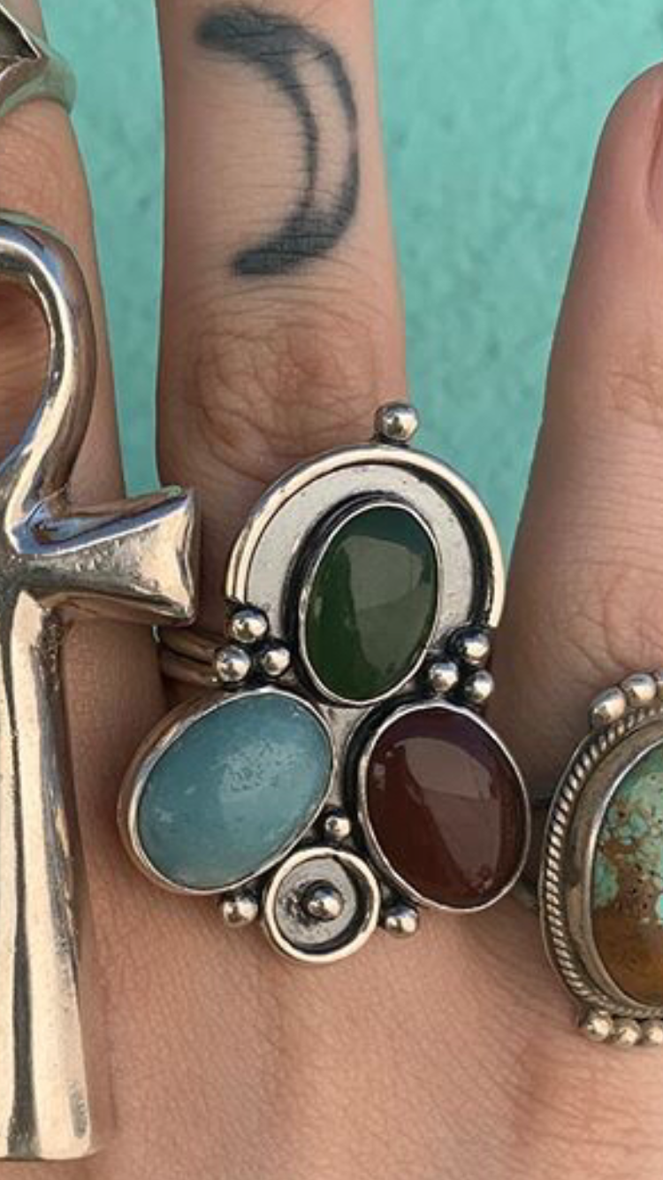 Sterling Silver Ring with Various Stones