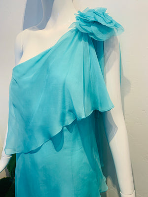 AQUA BLUE TIERED SILK DRESS