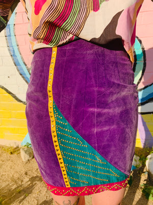 80s Fun Multicolor Studded Pencil Skirt