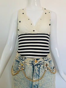 Y2K Knit Lace Tank Top