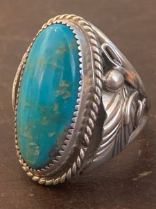 Hunky Sterling Silver Ring with Oval Turquoise Stone~ size 9.25