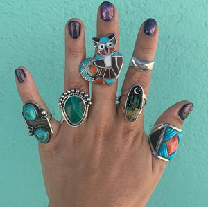 Sterling Silver Turquoise Inlay Galactic Cactus Ring ~ Size 9