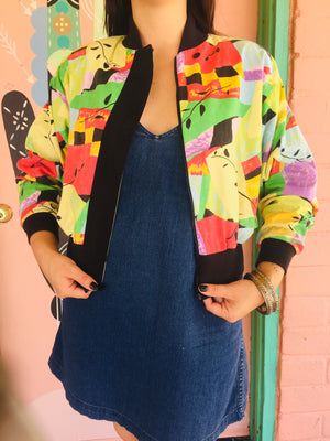 80s Fun Rainbow Colorblock Jacket